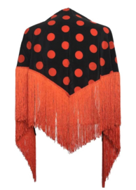 Foulard Châle Flamenco  noir à pois orange