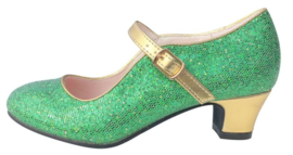Flamenco shoes green gold glamour