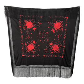 Spanish Flamenco Dance Shawl black red Square