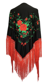 Flamenco dance shawl black red green Large