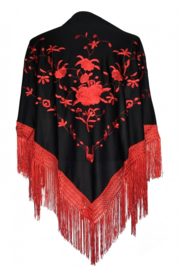 Flamenco dance shawl black red red fringes Medium