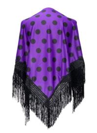 Spanischer Manton/Tuch, mit Punkten lila/schwarz