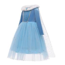 Elsa jurk cape bontkraag Luxe + GRATIS kroon