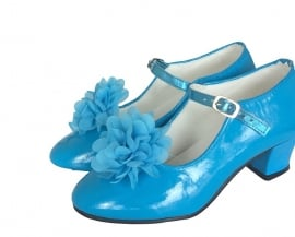 Flamenco shoe clip blue flower
