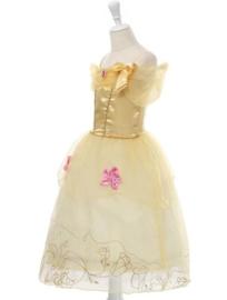 Prinsessenjurk geel roze + broche en GRATIS haarband