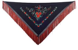 Spanischer Manton schwarz mit roten Rosen Fransen rot schwarz -Medium
