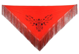 Spanischer Manton rot schwarz Fransen rot schwarz -  Größe L