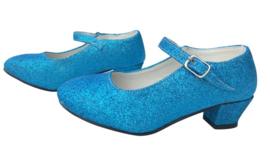 Spaanse schoenen blauw glitter