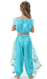 Jasmine Arabische Prinsessenjurk blauw + GRATIS kroon