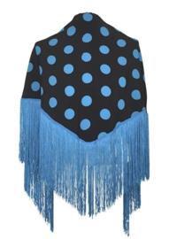 Manton Flamenco negro con puntos azules