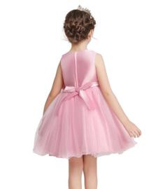 Communie jurk roze bruidsmeisje roosjes +GRATIS bloemenkrans