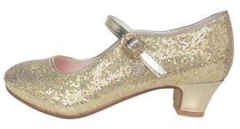 Flamenco shoes gold glittering heart