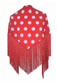 Spanish Flamenco Dance Shawl red with white dots