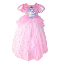 Zeemeermin prinsessenjurk roze Deluxe + GRATIS kroon