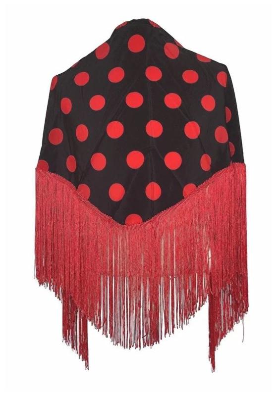 Spaanse manton met stippen zwart/rood