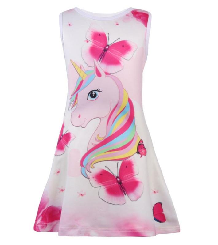 Eenhoorn jurk Unicorn jurk meisje roze + GRATIS knuffel