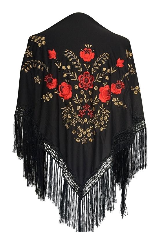 Spaanse manton omslagdoek zwart rood goud Medium