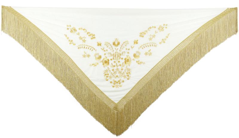 Spaanse manton creme wit goud Franjes goud Large