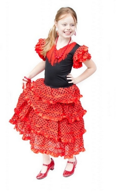 Flamenco jurk rood zwart