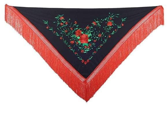 Spaanse manton zwart rood groen Franjes rood Medium