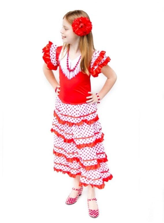 Flamenco jurk rood wit