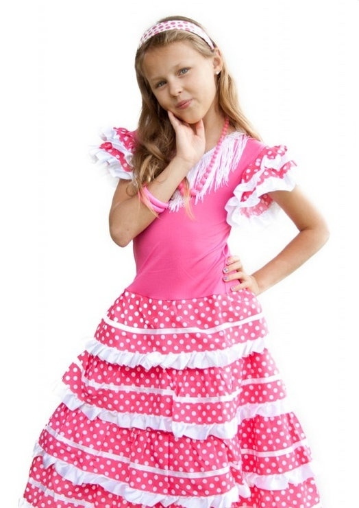 Flamenco jurk roze wit