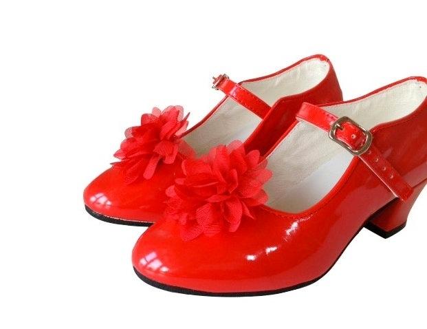 Flamenco schoenclip rode bloem