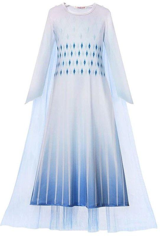 Elsa jurk wit Sneeuw Koningin Basic + GRATIS kroon