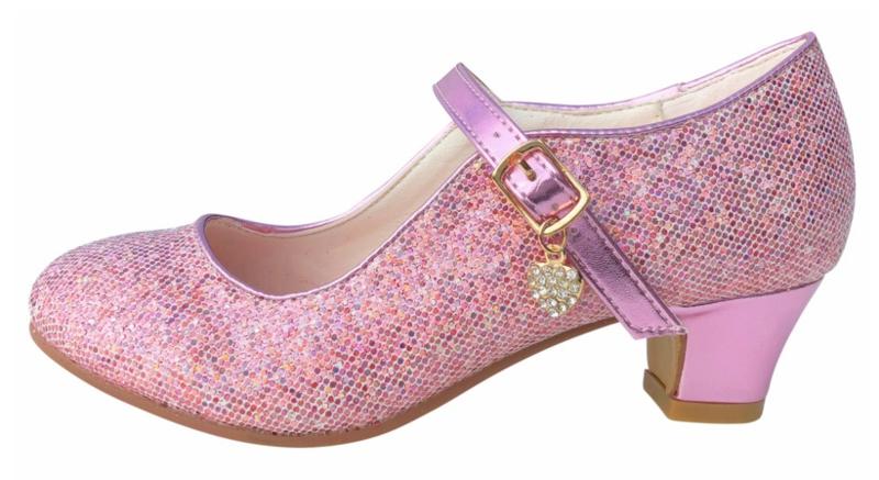 Spaanse schoenen roze Glamour glitterhartje