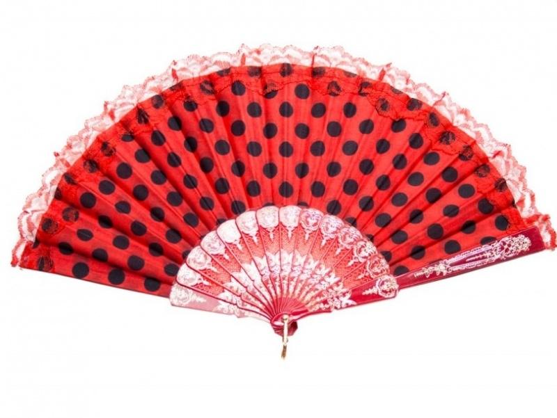 Flamenco Fächer rot schwarz mit Spitze