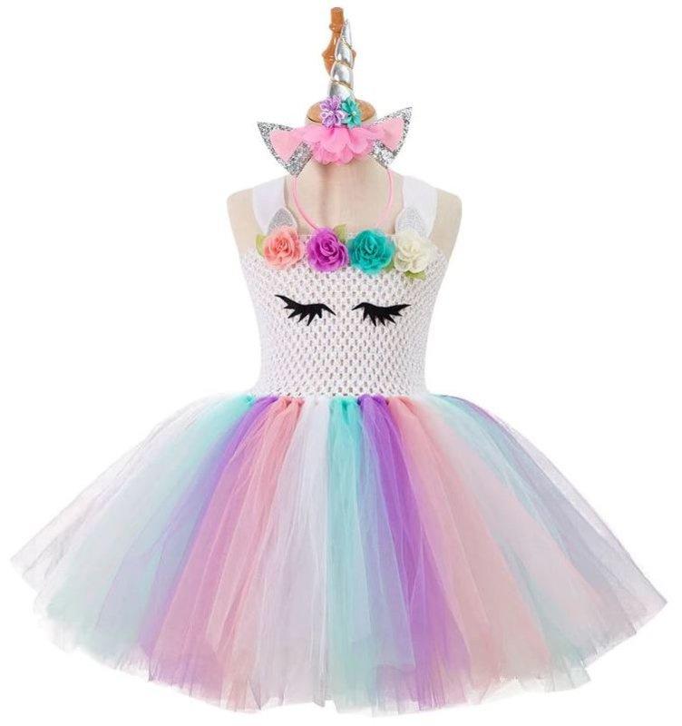 Eenhoorn Unicorn jurk Luxe Prinsessen wit + GRATIS haarband