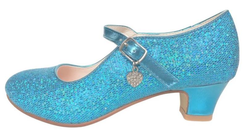 Zapato Flamenco azul corazón purpurina