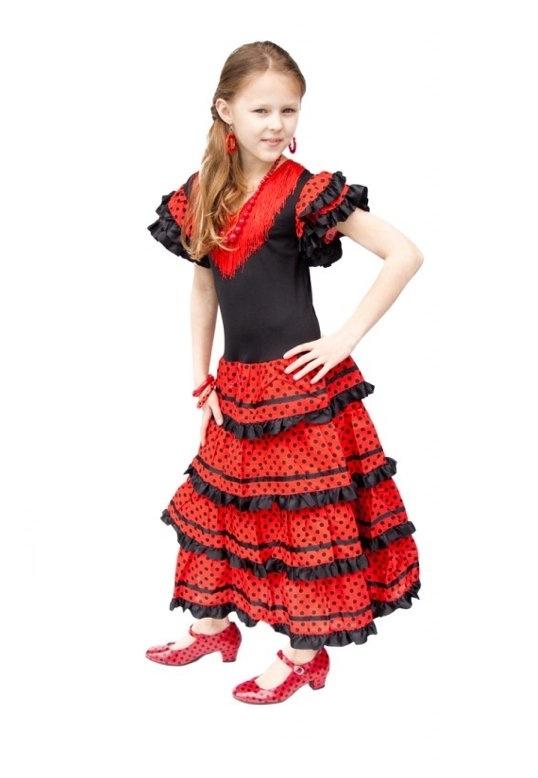 Flamenco jurk zwart rood