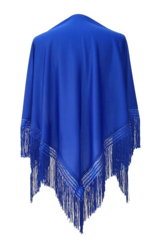 Spaanse manton/omslagdoek effen konings blauw