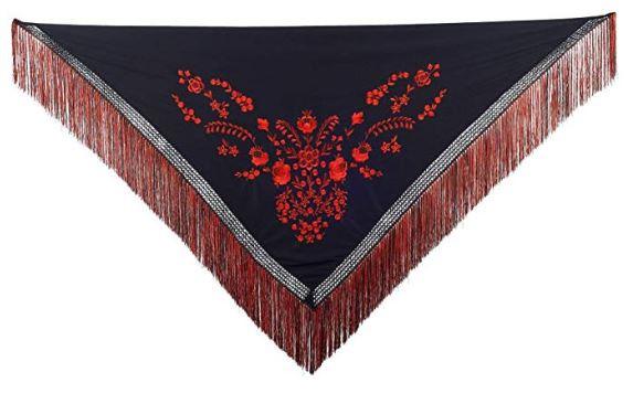 Spaanse manton zwart rood Franjes zwart rood Large