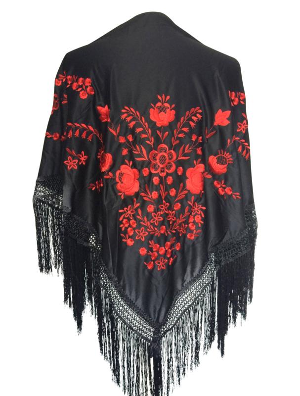 Spaanse manton omslagdoek zwart rood Medium