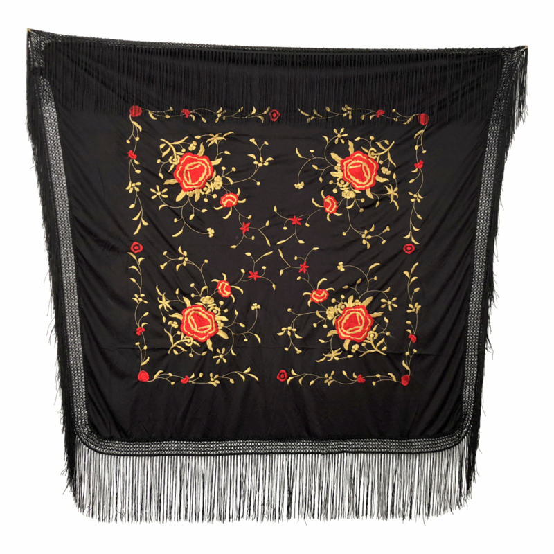 Spaanse manton vierkant cuadrado zwart rood goud