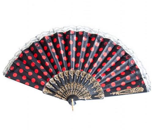 Flamenco waaier zwart rood