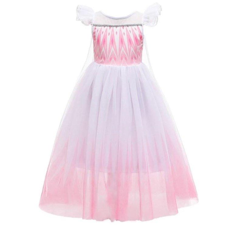 Elsa jurk roze wit Luxe + GRATIS kroon