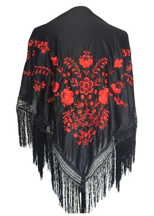 Spaanse manton omslagdoek zwart rood Large