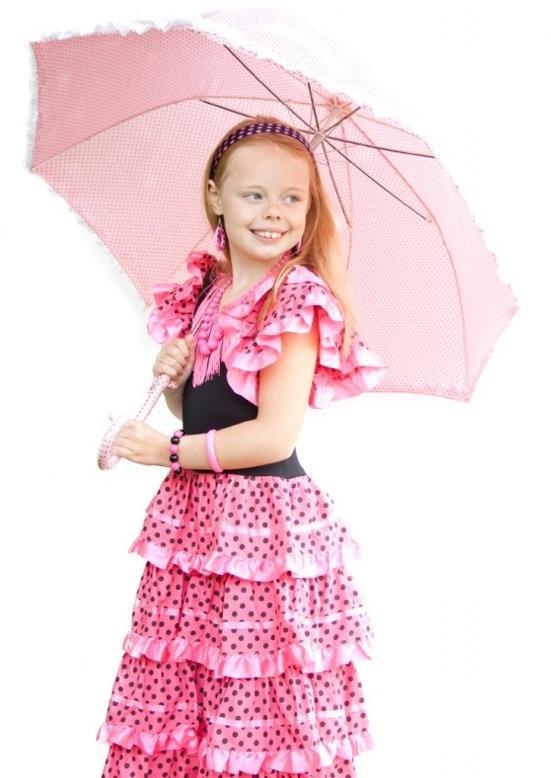 Flamenco jurk roze zwart