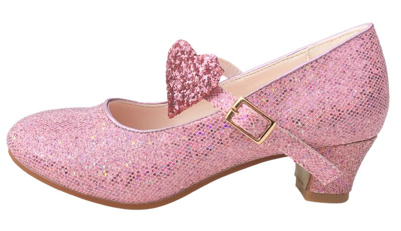 Spaanse schoenen roze glitter hart Deluxe