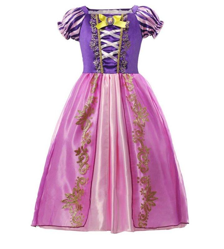Prinsessenjurk roze paars + broche en GRATIS haarband