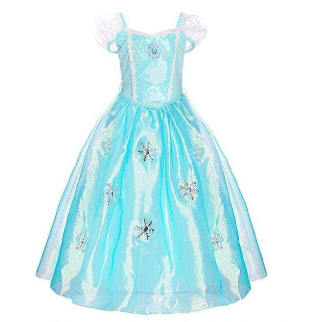 Elsa jurk Sneeuwvlok Luxe lange sleep + GRATIS kroon