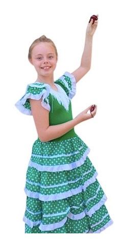Flamenco Kleid grün weiß