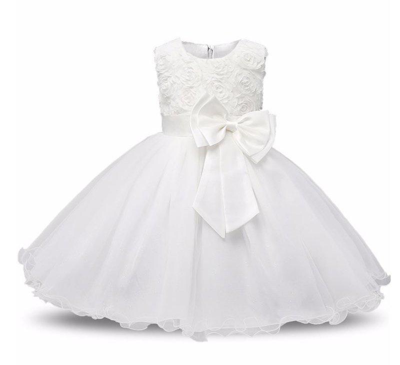 Communie jurk wit bruidsmeisje roosjes + GRATIS bloemenkrans