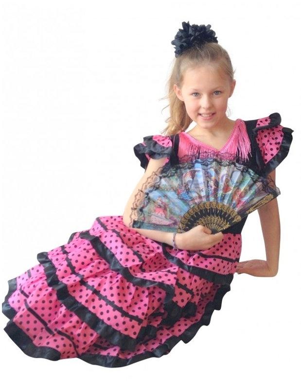 Vestito Flamenco nero rosa