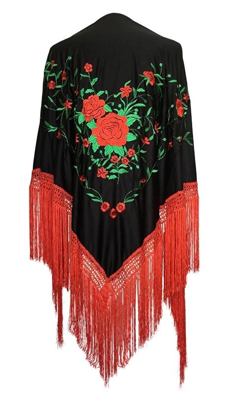 Spaanse manton zwart rood groen rode franjes Large