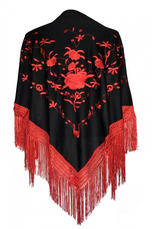 Spaanse manton omslagdoek zwart rood rode franjes Medium