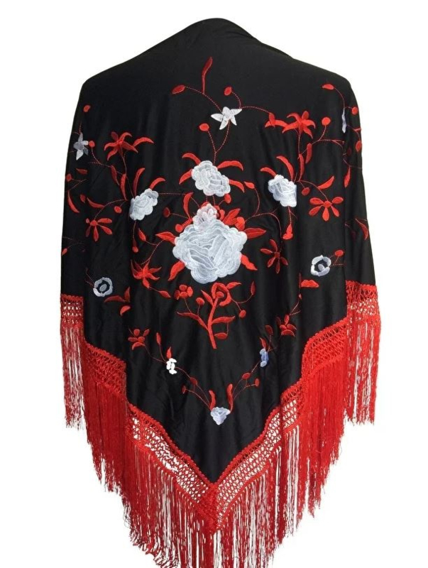 Spanish Flamenco Dance Shawl black red with white flowers and red Fringes Large